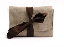 Linen Cosmetic Bag Purse Brown Grey
