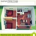 préfabriqués villa de luxe en acier cadre de plan de maison avec 2 chambre