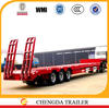 Tri-axle low flatbed semi trailer, 3m working plate width, excavator transporting trailer