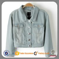 Wholesale Slim Fit True blue Denim Jean Jacket for women