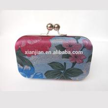 Latest Designer Denim Blue Flower Printed Hard Box Clutch Purses/Printed Box Evening bag (XJEB43)