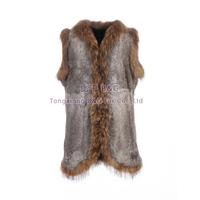 BG30414 Genuine Rabbit Fur Waistcoat with Raccoon Dog Fur Trim 2015 Fashion