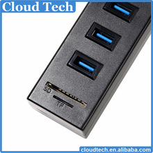 Hot selling 6 port usb 2.0 hub combo card reader driver with high speed