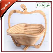 Apple shape folding bamboo fruit basket