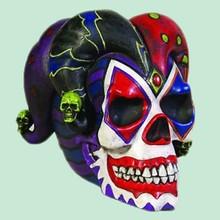 Resin Statue Decor Halloween Clown Jester Joker Skull