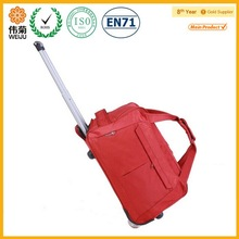 Women fashion polyester solid color polo duffle trolley bag