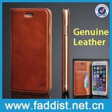 unique design card slot case for iPhone 6 flip case, for iphone 6 cow leather case