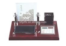 Fashion desktop wooden clock personalized paper cube pen holder