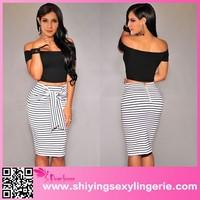 White Fashion Stripes Self-tie Midi Skirt www sexy girls com