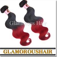 2015 Hot Selling 3pcs/Set 5A Body Wave Hair Bundles Two Tone Color 1B Burgundy Red Wine Brazilian Virgin Human Hair