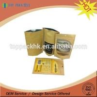Customized print ziplock stand up kraft paper bag