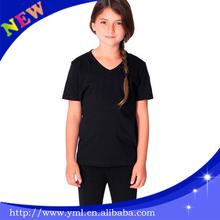 100%cotton high quality kids plain tee children v neck tshirts