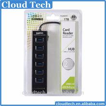 2015 new arrival 6 port usb hub combo card reader driver