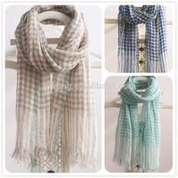 New design low MOQ korean fashion stole ladies small check shawl