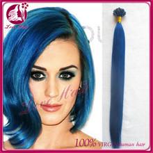 I-tip/Stick-tip Human Hair Extension,stick tip Keratin pre bonded human hair extension,blue color i tip hair