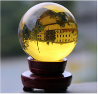 60mm/1pc Natural polished yellow crystal quartz sphere ball crystal ball nunatak lucky decoration with stand free shipping