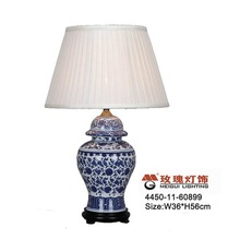 blue and white porcelain and wood base decor