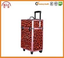 2 in 1 beauty box leopard rolling makeup case KL-MCE15043