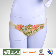 New Arrival Hot Sell Embroidered Flower Women's Panty And Ladies Underwear