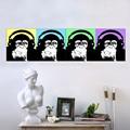 soyut maymun ailesi yağlıboya yapımı komik hayvan resimleri tuval