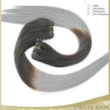 Beautiful style ombre grey hair extensions 100% virgin hair grey human hair weaving