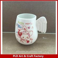 Ceramic Coffee Mug with Wing/Ceramic WIng Mug/Angel Wing Mug