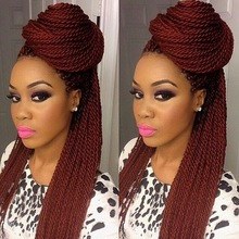 Wholesale aaaaa grade fashion #99j color box braids human hair full lace wig