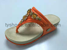 eva wedge heel flip flops with gem decoration