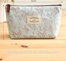 Korea Cute Canvas Floral Simple Creative Pencil Case Large Bags for School plus Hot Sale