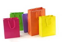 Customize Various color Kraft Shopping Carry Bags with Handle