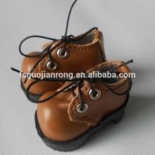 2.8cm TPR sole,brown shinny PU made Mini Doll Shoes