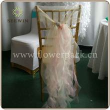 2015 wedding fancy organza chair hood cover with draping curls/ruffles, organza chiavari chair hood sash