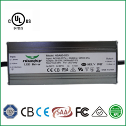 UL 80w 2400mA led driver AC100-277v constant current IP67 led power supply zhongshan factory