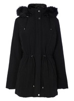 Black Padded Coat With Faux Fur Hood, padded coat women