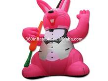 2015 new design 3mH inflatable cartoon pink rabbit