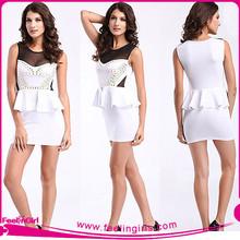 Wholesale White Lace Neck Elegant Office Ladies Dresses