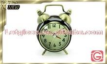 Stylish zinc alloy Twins bell alarm portable clock