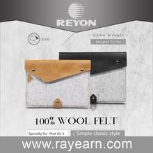 "2015 new arrive wool felt leather sleeve for macbook air 12"""