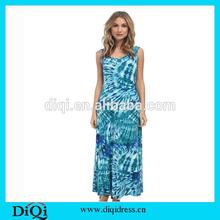2015 Womens Summer Blue Beach Long Dress Girls Frock Designs Muslim Maxi Dress