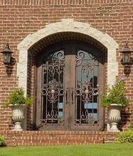 exterior doors, wrought iron double entry doors