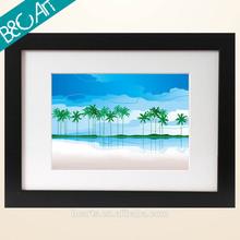 Digital diy bright color landscape oil painting cartoon coconut trees printed art