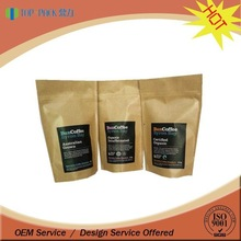 Stand up zipper Kraft paper coffee bag with valve