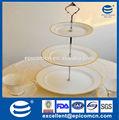 Prestige golden frontières stand 3 niveaux gâteau en céramique, porcelaine cake stand pour le mariage