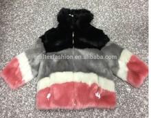 women bonzer and shining colorful strips artificial faux fur coat