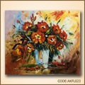 hecho a mano de flores de color rojo de la pintura decorativa