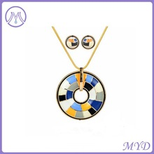 Hot sale enamel necklace and earrings jewelry set