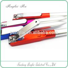 Hot Sale Mini Cheap Plastic Super Portable Pocket Multi Tools Nail Clipper Colorful School Ball Pen for promotion