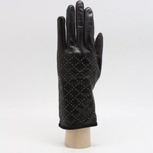 Fashion Long Women Black Sheep Leather Dress Gloves With Studs