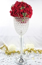 high quality metal centerpiece with crystal beads and LED lights/crystal tabletop centerpiece for wedding decoration