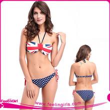 venta caliente para la mujer sexy de la bandera americana de bikinis